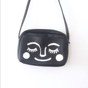 Vtg 90s Black White Hand Painted Mod Face Purse